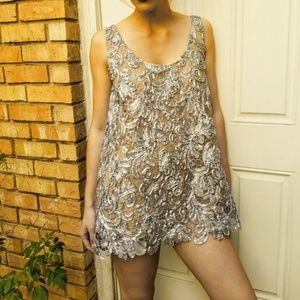 NWT VINTAGE $365 DIANE FREIS Ribbon Mini Dress/TOP